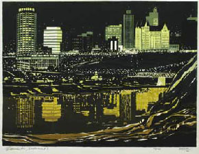 George Weber, Nocturne, Edmonton, 1966 (Art Gallery of Alberta collection, Gift of Mr. George Weber 2000.17.33)