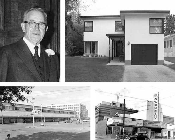 Counter clockwise from top left: William Blakey (The Blakey Family), Eatons Store (Edmonton Archives EA-10-1797), Garneau Theatre (Provincial Archives of Alberta A6885), William Blakey Residence (David Murray)