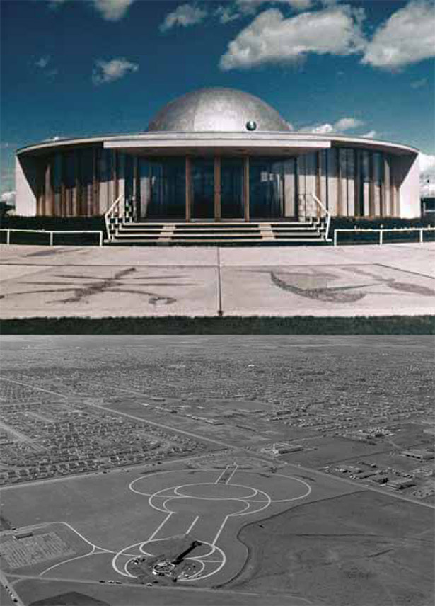 Top to bottom: Edmonton Planetarium (Edmonton Archives EA-14-192), Aerial View of Coronation Park (Edmonton Archives EA-20-1038)
