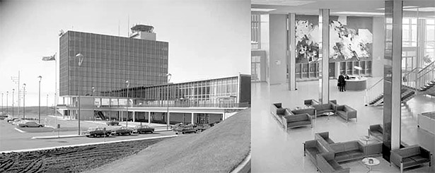 Left to right: Edmonton International Airport Exterior (Provincial Archives of Alberta PA531.3); Edmonton International Airport Interior (Provincial Archives of Alberta PA531.5)