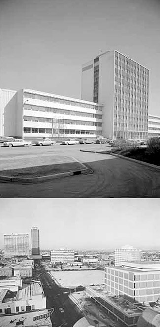 Top to bottom: U of A Education Building (Provincial Archives of Alberta WS.32.1), Downtown in the mid-19.0s (Edmonton Archives EA-10-2.95)