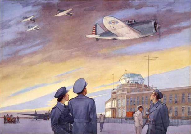 Walter J. Phillips,  Dawn, Edmonton Airport, 1942, 1942 (Art Gallery of Alberta Collection, gift of J. A. Imrie, Dr. Orr and Mrs. H.R. Milber, 1943)
