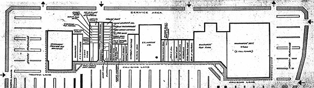 Plan of Westmount Shoppers' Park (Edmonton Journal, 17 August 1955, Section 4, pg. 1)